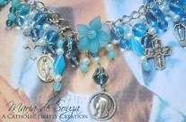 Blessed Mother Blue Bracelet with Medals