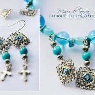 Blue Holy Cross Jewelry Set