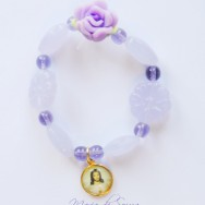 Little Girl's Purple Sacred Heart of Jesus Stretch Bracelet