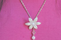 Pearl Flower Necklace with Small Holy Cross/Heart Medal