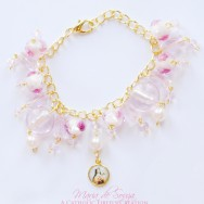 Pink Glass St. Therese The Little Flower Bracelet