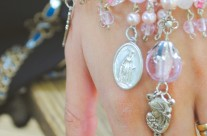 Pink Madonna and Child Bracelet With Religious Medals