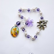 Purple St. Joseph and Child Jesus Bracelet