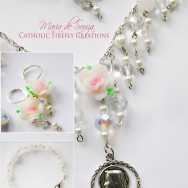 White Crystal Blessed Virgin Mary Jewelry Set (Includes Earrings, Bracelet and Necklace)