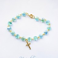 Beautiful, Gold Holy Cross Bracelet With Glassy Blue Heart Beads