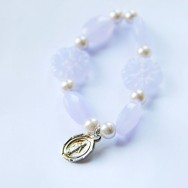 Little Girl's Purple Miraculous Medal Stretch Bracelet