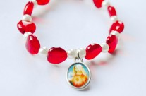 Little Girl's Red Immaculate Heart of Mary Stretch Bracelet