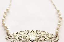 Silver and Pearl Ornate Miraculous Medal Necklace