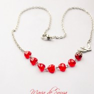 Silver and Glass Red Heart Holy Spirit Necklace