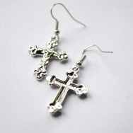 Silver Holy Cross Earrings
