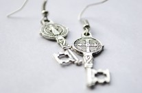 Silver St. Benedict Key Earrings