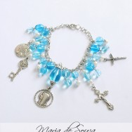 Handcrafted Catholic, Blessed Mother Blue Bracelet With Religious Medals