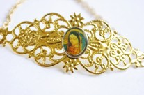 Our Lady of Guadalupe Gold Filigree Cuff Bracelet