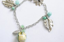 Cute, Chubby Green Owl Charm Bracelet with Silver Leaves
