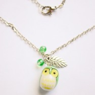 Cute, Chubby Green Owl Necklace with Silver Leaves