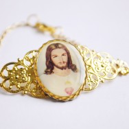 Sacred Heart of Jesus Gold Filigree Cuff Bracelet