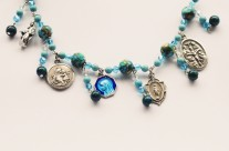 Custom Made Blue Stone Catholic Charm Bracelet