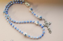 Blue Cat Eye Glass Rosary