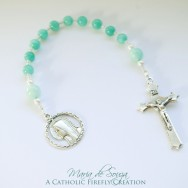 Pastel Lake Green Flower Jade One Decade Rosary