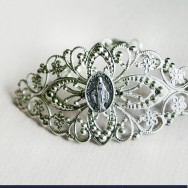 Large Silver Filigree Cuff Bracelet with Dark Tinted Miraculous Medal