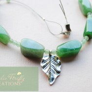 Chunky Green Aventurine Silver Leaf Necklace