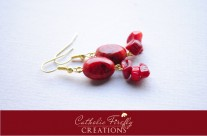 Red Coral and Gold Dangle Earrings