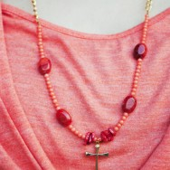 Red Orange Coral Necklace with Gold Holy Cross