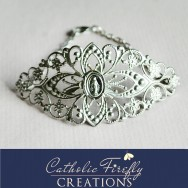 Large Silver Filigree Cuff Bracelet with Silver Miniature Miraculous Medal