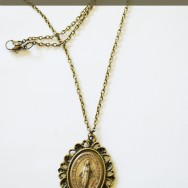 Antique Long Miraculous Medal Necklace