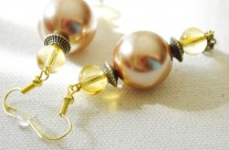 Large Bronze Colored Faux Pearl Earrings