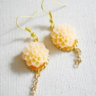 Peach Flower and Gold Earrings