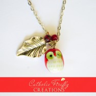 Cute, Chubby Red Owl Necklace with Large, Silver Leaf