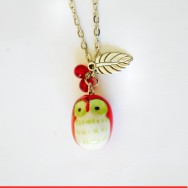 Cute, Chubby Red Owl Necklace with Small Silver Leaf